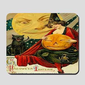 Vintage Halloween Witch Moon Cat Postcar Mousepad