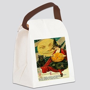 Vintage Halloween Witch Moon Cat  Canvas Lunch Bag