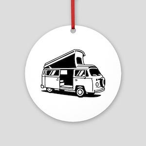 Family Camper Van Round Ornament
