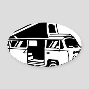 Family Camper Van Oval Car Magnet