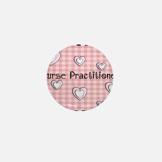 Nurse practitioner blanket Hearts pink Mini Button