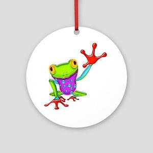 Waving Poison Dart Frog Round Ornament