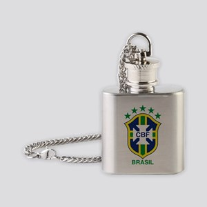brazil soccer logo Flask Necklace