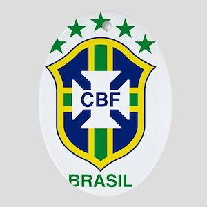 brazil soccer logo Oval Ornament