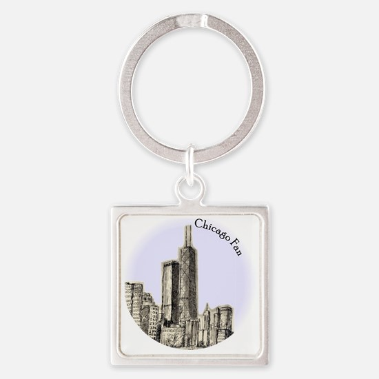 Chicago Fan Square Keychain