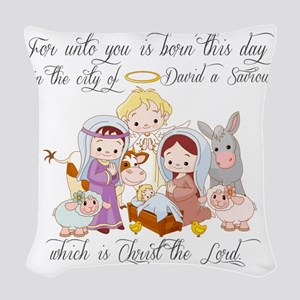 Baby Jesus Woven Throw Pillow