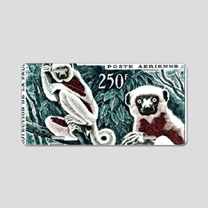 1961 Madagascar Lemur White Aluminum License Plate