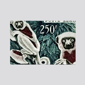 1961 Madagascar Lemur White Sifak Rectangle Magnet