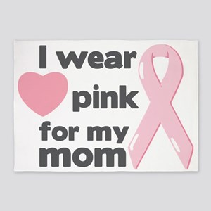 I wear pink for my mom 5'x7'Area Rug
