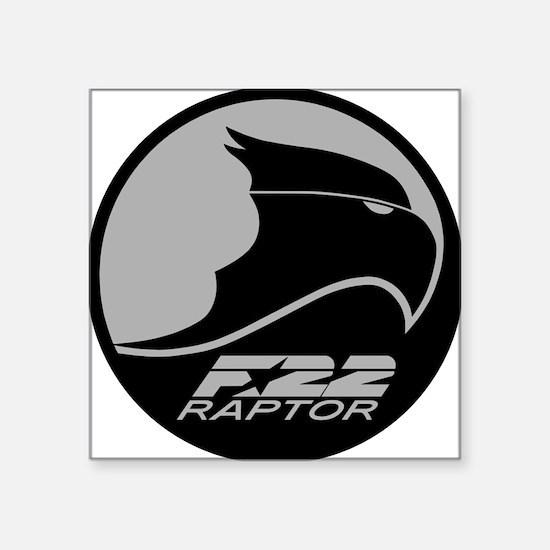 "F-22 Raptor - Grey Square Sticker 3"" x 3"""