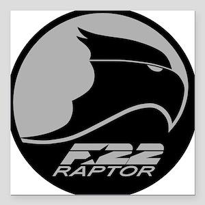 "F-22 Raptor - Grey Square Car Magnet 3"" x 3"""