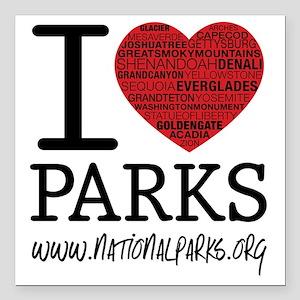 "heart parks Square Car Magnet 3"" x 3"""