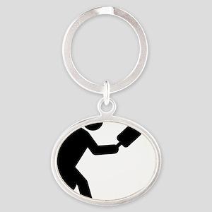 Pickleball-A Oval Keychain