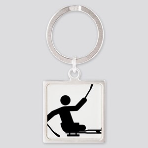 Physically-Challenge-Sled-Hockey-A Square Keychain