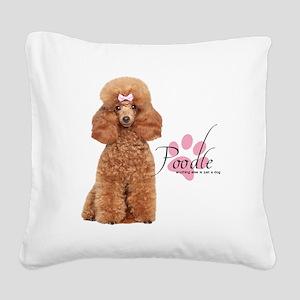 Poodle Square Canvas Pillow