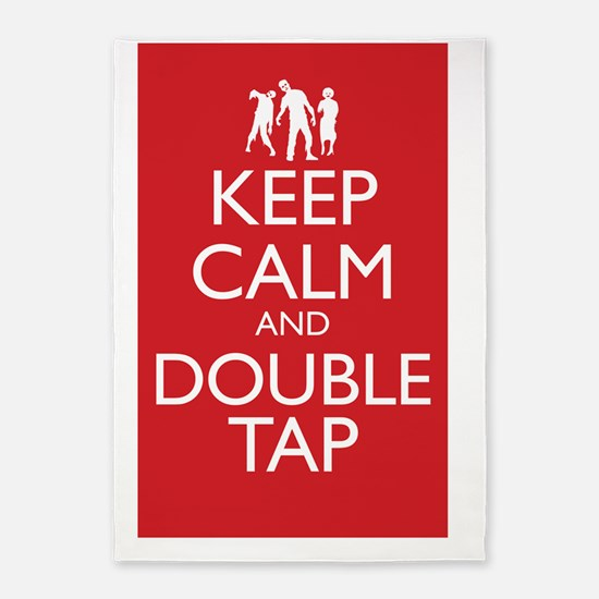 Keep Calm and Double Tap Large Post 5'x7'Area Rug