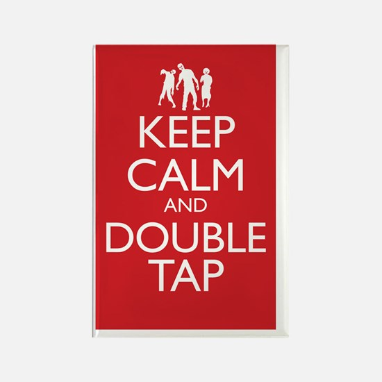 Keep Calm and Double Tap Large Po Rectangle Magnet