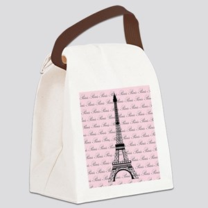 Pink and Black Paris Eiffel Tower Canvas Lunch Bag