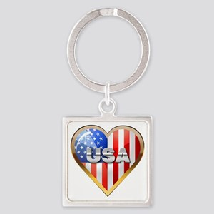 US Heart Square Keychain