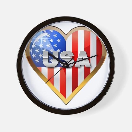 US Heart Wall Clock