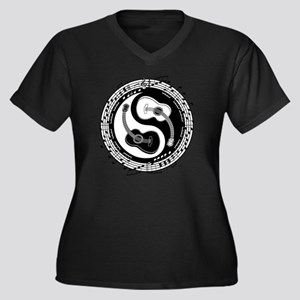 guitar-yang- Women's Plus Size Dark V-Neck T-Shirt