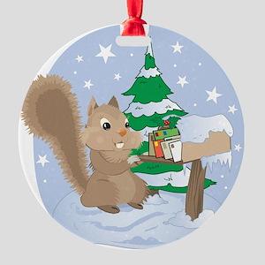Winter Squirrel Scene Round Ornament
