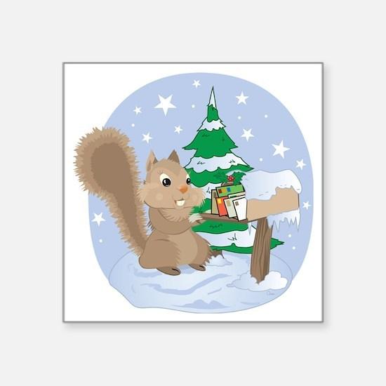 """Winter Squirrel Scene Square Sticker 3"""" x 3"""""""