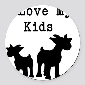 I Love My Kids Round Car Magnet
