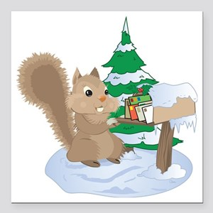 """Winter Squirrel Square Car Magnet 3"""" x 3"""""""