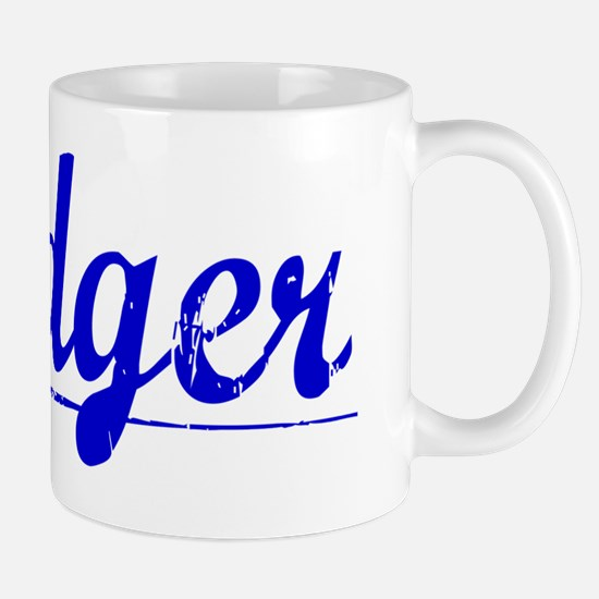 Badger, Blue, Aged Mug