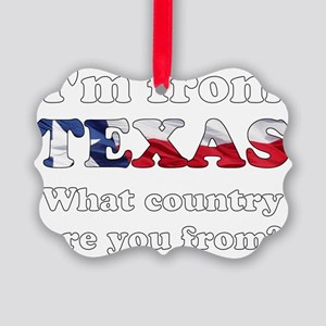 Im from Texas Picture Ornament