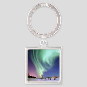 Alaska Aurora Square Keychain