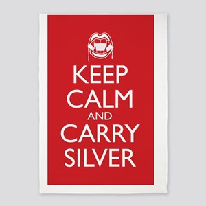 KeepCalm_CarrySilver_23- x 35- Larg 5'x7'Area Rug