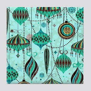 Green Tint Ornaments Tile Coaster