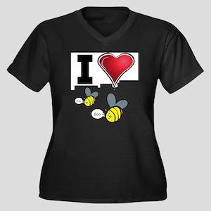 I Love Boo B Women's Plus Size Dark V-Neck T-Shirt