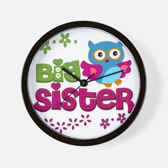 Cute Owl Big Sister Wall Clock