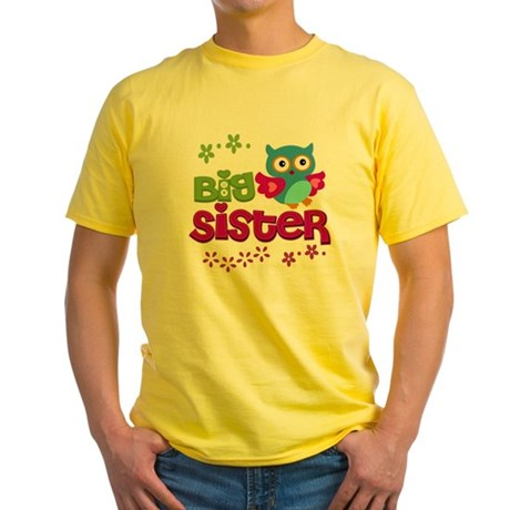 Cute Owl Big Sister Yellow T-Shirt