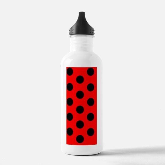 Red Black Polka Dots D Water Bottle