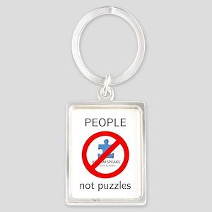 Autism:  People, Not Puzzles Portrait Keychain