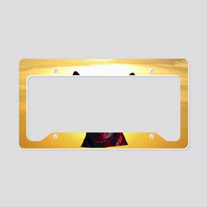 The Day Glow Dog at Sunset License Plate Holder