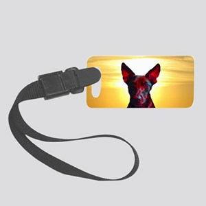 The Day Glow Dog at Sunset Small Luggage Tag