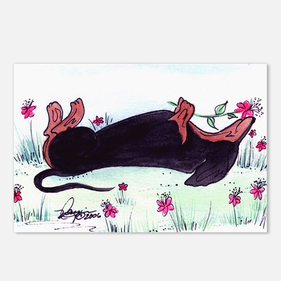 Dachshund enjoying flower Postcards (Package of 8)