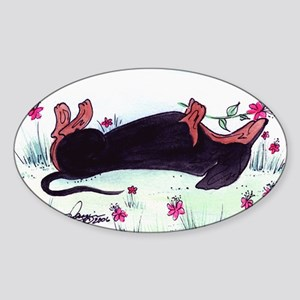 Dachshund enjoying flowers Sticker (Oval)