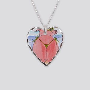 Pig at the beach Necklace Heart Charm