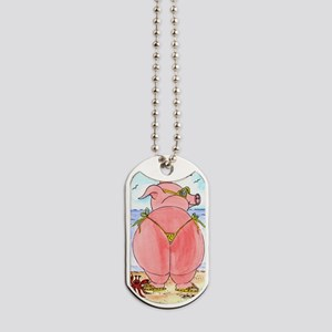 Pig at the beach Dog Tags