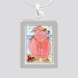 Pig at the beach Silver Portrait Necklace