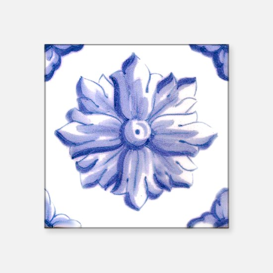 "DELFT FLOWER TILE Square Sticker 3"" x 3"""