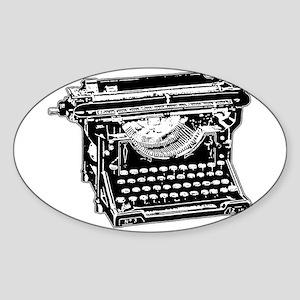 Old Fashioned Typewriter Oval Sticker