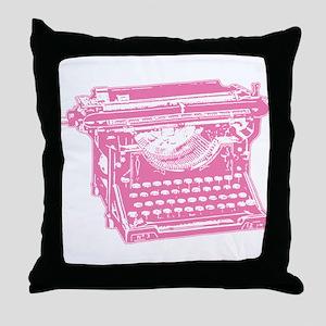 Pink Typewriter Throw Pillow