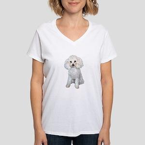 Poodle - Min (W) Women's V-Neck T-Shirt